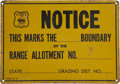 Advertising:Signs, Early Tin Sign for Cattle Range Grazing, circa 1930s....