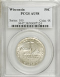 Commemorative Silver: , 1936 50C Wisconsin AU58 PCGS. PCGS Population (5/5439). NGC Census:(1/3433). Mintage: 25,015. Numismedia Wsl. Price for NG...