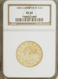 Liberty Eagles: , 1850 $10 Large Date XF45 NGC. NGC Census: (82/218). PCGS Population(34/81). Mintage: 291,451. Numismedia Wsl. Price for NG...