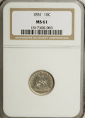 Seated Dimes: , 1851 10C MS61 NGC. NGC Census: (6/28). PCGS Population (0/23).Mintage: 1,026,500. Numismedia Wsl. Price for NGC/PCGS coin ...