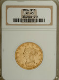 Liberty Eagles: , 1854 $10 XF45 NGC. NGC Census: (37/164). PCGS Population (25/50).Mintage: 54,250. Numismedia Wsl. Price for NGC/PCGS coin ...