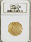 Indian Eagles, 1910 $10 Pittman AU55 NGC. NGC Census: (47/3713). PCGS Population(120/2587). Mintage: 318,500. Numismedia Wsl. Price for N...
