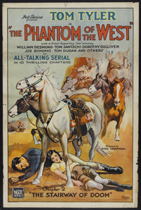 """The Phantom of the West (Mascot, 1931). One Sheet (27"""" X 41"""") Chapter 2 -- """"The Stairway of Doom"""". S..."""