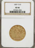Liberty Eagles: , 1859 $10 XF45 NGC. NGC Census: (24/101). PCGS Population (22/34).Mintage: 16,093. Numismedia Wsl. Price for NGC/PCGS coin ...