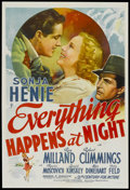 "Movie Posters:Drama, Everything Happens at Night (20th Century Fox, 1939). One Sheet (27"" X 41""). Drama...."