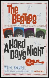 "A Hard Day's Night (United Artists, 1964). One Sheet (27"" X 41""). Rock and Roll"