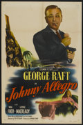 "Movie Posters:Crime, Johnny Allegro (Columbia, 1949). One Sheet (27"" X 41""). Crime...."