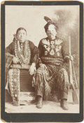 Photography:Cabinet Photos, Cabinet Card Image of Osage Medicine Man Little Soldier and Wife,circa 1890s....