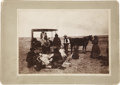 Western Expansion:Indian Artifacts, Photograph: Kiowa Indians Butchering Cow, circa 1880s-1890s....