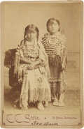 Photography:Cabinet Photos, Cabinet Card of Two Small Indian Girls in Beads and Buckskin....