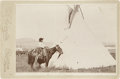 Photography:Cabinet Photos, Cabinet Card of Armed Young Indian on Horseback With JaguarPelt....
