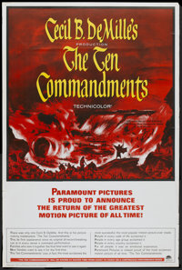 "The Ten Commandments (Paramount, R-1958). Poster (40"" X 60""). Historical Drama"