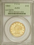Liberty Eagles: , 1850 $10 Large Date AU55 PCGS. PCGS Population (14/16). NGC Census:(55/71). Mintage: 291,451. Numismedia Wsl. Price for NG...