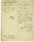 Western Expansion:Indian Artifacts, Cheyenne Indian Document, Oklahoma Territory, Two Right of Way Deeds, Signed by Bear Man and Bear Woman, 1903....