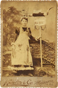 Photography:Cabinet Photos, Cabinet Card of Pretty Young Girl Advertising a Meat Market....
