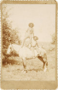 Photography:Cabinet Photos, Cabinet Card of Two Men on One Horse....