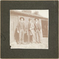 Photography:Cabinet Photos, Photograph of Three Dapper Lads Posed Outside With Lever-Action Rifle....