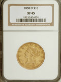 Liberty Eagles: , 1858-O $10 XF45 NGC. NGC Census: (40/127). PCGS Population (34/70).Mintage: 20,000. Numismedia Wsl. Price for NGC/PCGS coi...