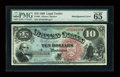 Large Size:Legal Tender Notes, Fr. 96 $10 1869 Legal Tender PMG Gem Uncirculated 65 EPQ....