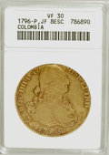 Colombia, Colombia: Carlos IV gold 8 Escudos 1796-P JF,...