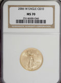 Modern Bullion Coins, 2006-W $10 Quarter-Ounce Gold Eagle MS70 NGC. PCGS Population(724/0). Numismedia Wsl. Price for NGC/PC...