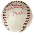 Autographs:Baseballs, 1960 St. Louis Cardinals Team Signed Baseball. Here we offer avintage ONL (Giles) baseball, signed in stunning red ink by ...