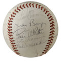 Autographs:Baseballs, 1965 St. Louis Cardinals Team Signed Baseball. Hall of Fame managerRed Schoendienst led a star-studded St. Louis team in 1...