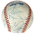 Autographs:Baseballs, 1992 Toronto Blue Jays Team Signed Baseball. The World Champs joinforces on an OAL (Brown) ball bearing over thirty blue i...