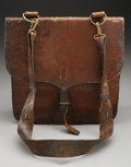 """Military & Patriotic:Civil War, Watervliet Arsenal Leather Union Artillery Gunner's Haversack. A brown leather haversack, 13"""" x 13"""", with closure strap, buc..."""