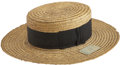 Antiques:Textiles, Early Straw Hat with Original Tag, circa 1880s-1890s....