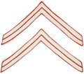 Military & Patriotic:Indian Wars, Pair of Rare White Indian Scout Chevrons, piped in scarlet circa 1890s, ... (Total: 2 Items)