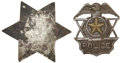 "Western Expansion:Cowboy, Vintage Badges, Two. The first, a six-pointed white metal star,3.25"", is attractively hand-cut and engraved ""Nashville Lodg...(Total: 2 Items)"
