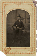 Photography:Tintypes, Sixth Plate Tintype of a Man Holding a Rifle....