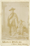 Photography:Cabinet Photos, Cabinet Card of Unidentified Oglala Sioux Man and Child, circa1890s....