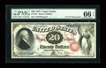 Large Size:Legal Tender Notes, Fr. 129 $20 1878 Legal Tender PMG Gem Uncirculated 66 EPQ....