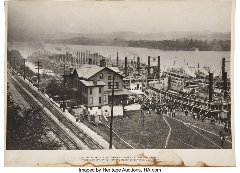 photograph of paddle wheelers at davis island dam on the lot