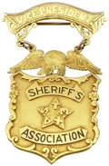 """Western Expansion:Cowboy, Vice President """"Sheriff's Association of Texas"""" Engraved Solid GoldPresentation Badge, circa 1920s-1930s...."""