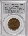 Errors, 1979-D SBA$ Susan B Anthony Dollar Obverse Clad Layer Missing MS63PCGS. ...