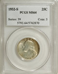 Washington Quarters: , 1932-S 25C MS64 PCGS. PCGS Population (916/96). NGC Census:(494/59). Mintage: 408,000. Numismedia Wsl. Price for NGC/PCGS ...