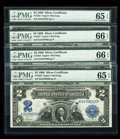 Large Size:Silver Certificates, Fr. 253 $2 1899 Cut Sheet of Four Silver Certificates PMG GemUncirculated 66,66,65,65 EPQ.... (Total: 4 notes)