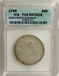 Early Half Dollars, 1795 50C 2 Leaves--Scratched, Cleaned--ICG. Fine 15 Details....