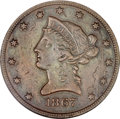 Patterns, 1867 $10 Ten Dollar, Judd-602, Pollock-667, High R.7--Scratched,Cleaned--ANACS. AU Details, Net PR30....