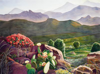 MARY LOU KING (American, 20th Century) West Texas in Bloom Watercolor on paper 36 x 48 inches (91