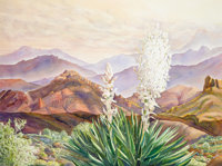MARY LOU KING (American, 20th Century) Yucca in Bloom Watercolor on paper 36 x 48 inches (91.4 x