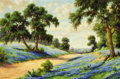 Texas:Early Texas Art - Regionalists, DOLLIE S. NABINGER (American, 1905-1988). Untitled (Roadwaythrough the Bluebonnets). Oil on canvas. 20 x 30 inches (50....
