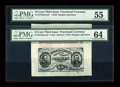 Fr. 1272SP 15c Third Issue Wide Margin Specimen Pair PMG Choice Uncirculated 64; PMG About Uncirculated 55