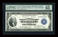 Dual Courtesy Autographed Fr. 723 $1 1918 Federal Reserve Bank Note PMG Choice Uncirculated 63 EPQ