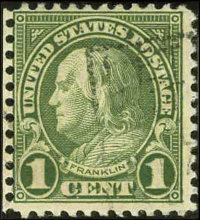 #594, 1923, 1c Green VG 50 PSE. (Used)