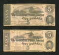 Confederate Notes:1862 Issues, T53 $5 1862. Two Examples.. ... (Total: 2 notes)