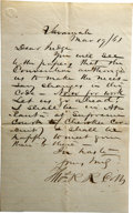 "Military & Patriotic:Civil War, Thomas Reade Rootes Cobb Autograph Letter Signed ""Tho. R. R. Cobb"" One page, 5.5"" x 9"", Savannah, Georgia, March 19, 186..."